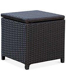 Jennifer Outdoor Wicker Storage Ottoman, Quick Ship