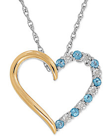 Blue Topaz (1/3 ct. t.w.) and Diamond Accent Heart Pendant Necklace in Sterling Silver and 14k Gold