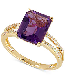 Amethyst (2-9/10 ct. t.w.) and Diamond (1/10 ct. t.w.) Split Shank Ring in 14k Gold