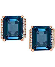 London Blue Topaz (5-3/4 ct. t.w.) and Diamond Accent Earrings in 14k Rose Gold