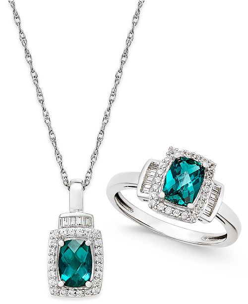 Macy's Lab-Created Emerald (1-3/8 ct. t.w.) and White Sapphire (5/8 ct. t.w.) Pendant Necklace and Matching Ring Set in Sterling Silver