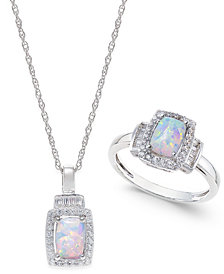 Lab-Created Opal (5/8 ct. t.w.) and White Sapphire (5/8 ct. t.w.) Pendant Necklace and Matching Ring Set in Sterling Silver