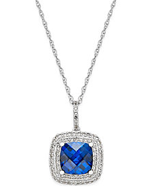 Lab-Created Blue Sapphire (2-1/2 ct. t.w.) and White Sapphire (1/3 ct. t.w.) Pendant Necklace in Sterling Silver
