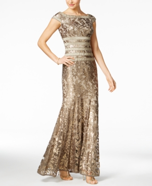 Vintage Evening Dresses and Formal Evening Gowns Tadashi Shoji Sequined Embroidered Cap-Sleeve Gown $398.00 AT vintagedancer.com
