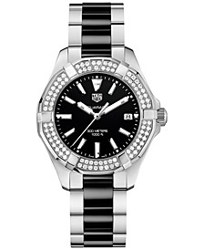 Women's Swiss Diamond (5/8 ct. t.w.) Aquaracer Steel and Black Ceramic Bracelet Watch 35mm WAY131E.BA0913