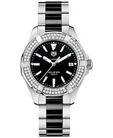 TAG Heuer Women's Swiss Diamond (5/8 ct. t.w.) Aquaracer Steel and Black Ceramic Bracelet Watch 35mm WAY131E.BA0913