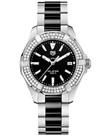 TAG Heuer Women's Swiss Diamond (5/8 ct. t.w.) Aquaracer Steel and Black Ceramic Bracelet Watch 35mm WAY131E.BA0913
