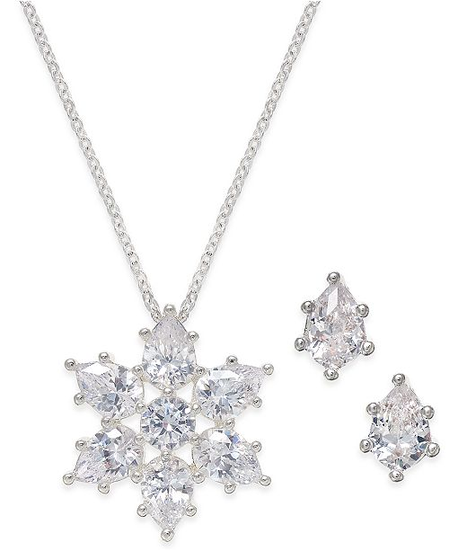 Charter Club Silver Tone Crystal Snowflake Necklace And