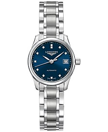 Longines Women's Swiss Automatic Master Collection Diamond Accent Stainless Steel Bracelet Watch 26mm L21284976