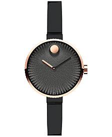 Movado Women's Swiss Edge Black Stainless Steel Bangle Bracelet Watch 28mm 3680025