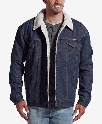 Wrangler Men's Western Jean Jacket with Faux-Sherpa Lining - Coats ...
