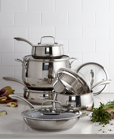 Belgique Stainless Steel 11-Pc. Cookware Set with Nonstick Sauté Pan & Fry Pan, Created for Macy's