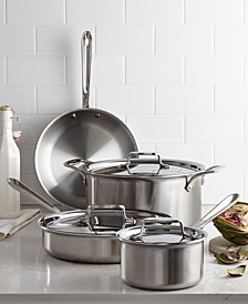 D5 Brushed Stainless Steel 7 Piece Cookware Set
