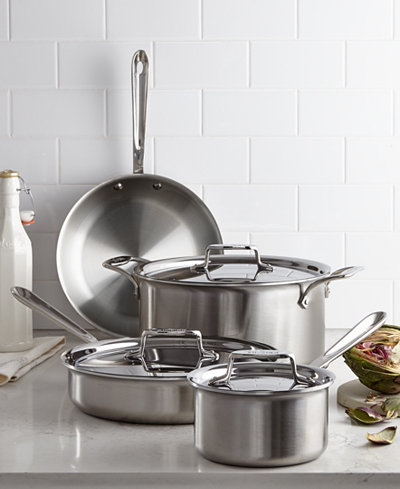 All Clad D5 Brushed Stainless Steel 7 Piece Cookware Set