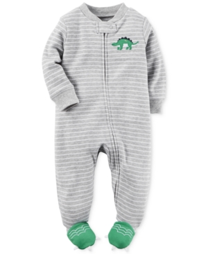 Carters 1Pc Stripes  Dinosaurs Footed Coverall Baby Boys (024 months)