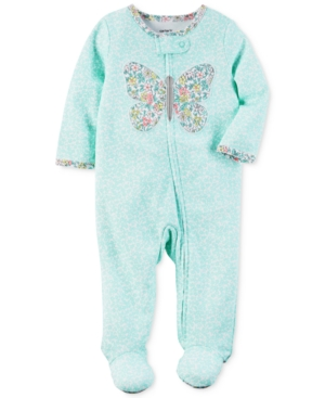 Carters 1Pc FloralPrint Butterfly Footed Coverall Baby Girls (024 months)
