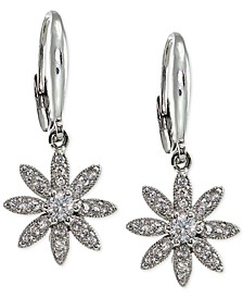 Cubic Zirconia Pavé Flower Drop Earrings in Sterling Silver, Created for Macy's