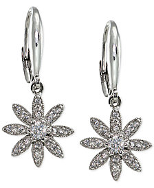 Giani Bernini Cubic Zirconia Pavé Flower Drop Earrings in Sterling Silver, Created for Macy's