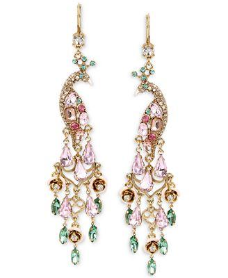 Betsey Johnson Gold-Tone Peacock Crystal Chandelier Earrings