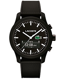 Lacoste Men's Analog-Digital L.12.12 Contact Black Rubber Strap Smart Watch 44mm 2010881