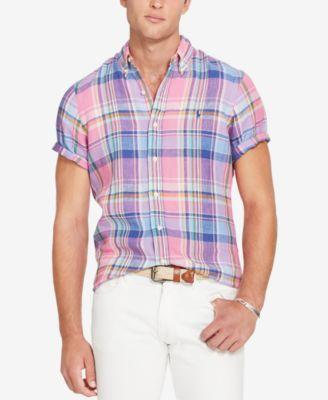 RALPH LAUREN Polo Mens Short Sleeve Linen Plaid Button Down Shirt