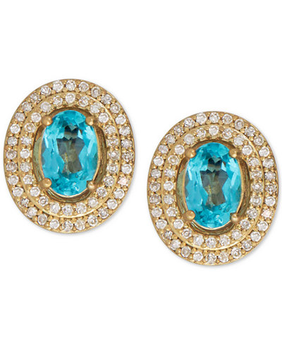 Apatite (1 ct. t.w.) and Diamond (1/4 ct. t.w.) Stud Earrings in 14k Gold