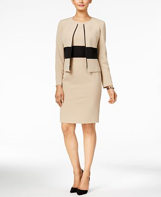 Kasper Crepe Colorblocked Blazer & Sheath Dress