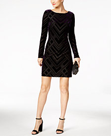 Vince Camuto Velvet Dress, I.N.C. Clutch & Steve Madden Dress Sandals