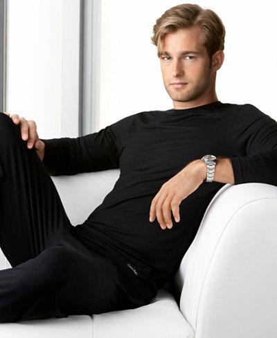 Calvin Klein Men's Loungewear, Micro Modal Long Sleeve Crew and Modal Pants