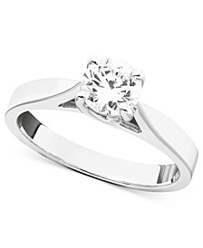 14k White Gold Diamond Certified Engagement Ring