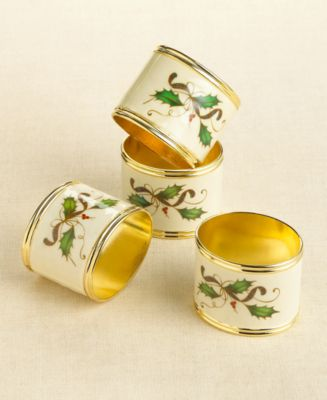 Holiday Nouveau Napkin Rings, Pack of 4