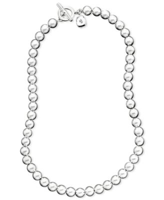 "16"" Silver-Tone Metal Bead (8 mm) Necklace"