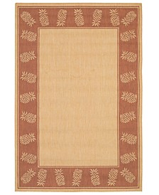 "CLOSEOUT! Recife Tropics Natural/Terracotta 2'3"" x 11'9"" Runner Indoor/Outdoor Area Rug"