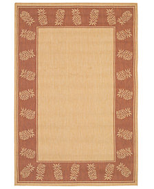 "CLOSEOUT! Couristan Area Rug, Recife Indoor/Outdoor 1177/1112 Tropics Natural-Terra-cotta 7' 6"" Square"