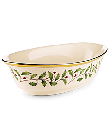 "Lenox Serveware, 10"" Holiday Oval Vegetable Bowl"