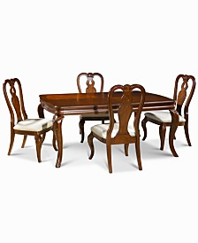 Bordeaux 5-Piece Dining Room Furniture Set, Created for Macy's,  (Dining Table & 4 Queen Anne Side Chairs)