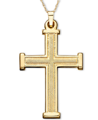 Cross pendant in 14k gold necklaces jewelry watches macys cross pendant in 14k gold aloadofball Image collections