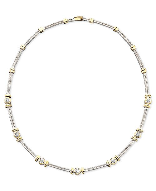 Macy's Diamond Necklace in 14k Two-Tone Gold (1 ct. t.w.)