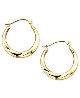 Macy S 10k Gold Small Polished Swirl Hoop Earrings Jewelry Watches