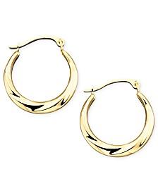 10k Gold Small Polished Swirl Hoop Earrings