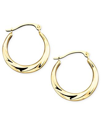 10k Gold Small Polished Swirl Hoop Earrings Earrings Jewelry