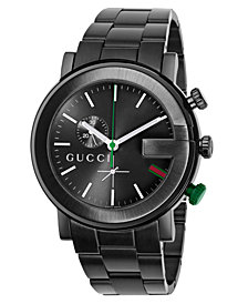 Gucci Unisex G-Chrono Black Stainless Steel Bracelet Watch 44mm YA101331