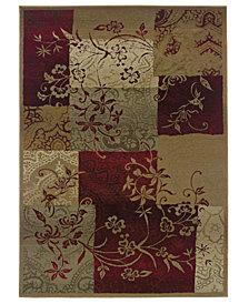 Oriental Weavers Round Area Rug, Genesis 80X Patchwork Vines 6'