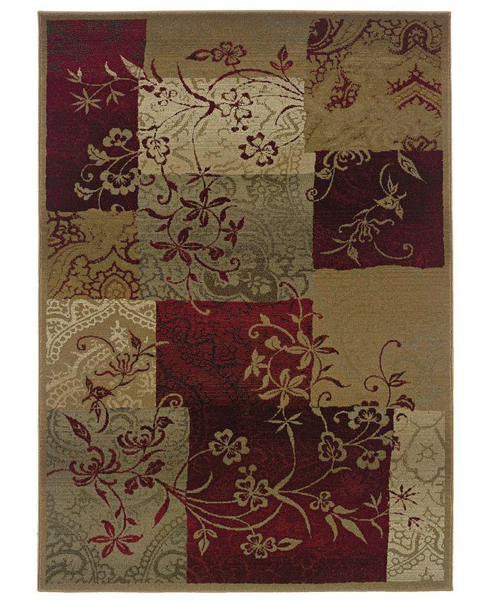 """Oriental Weavers - """"Genesis"""" 80X Natural / Maroon Area Rug, 8' Round"""