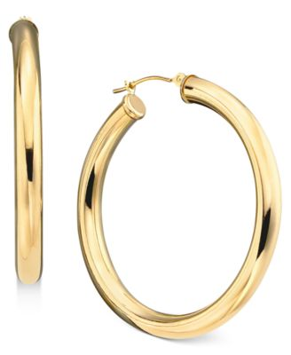 Macy S 14k Gold Large Polished Hoop Earrings Jewelry Watches