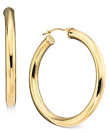 14k Gold Large Polished Hoop Earrings