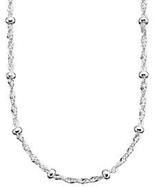 "Sterling Silver Necklace, 16-30"" Small Bead Station Singapore Chain"
