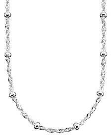 "Giani Bernini Sterling Silver Necklace, 24"" Small Beaded Singapore Chain"