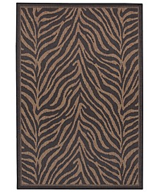 "CLOSEOUT! Recife Zebra Black/Cocoa 5'10"" x 9'2"" Indoor/Outdoor Area Rug"