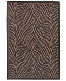 "CLOSEOUT! Couristan Area Rug, Recife Indoor/Outdoor Zebra Black/Cocoa 7' 6"" Square"